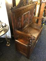 Victorian Antique Green Man Carved Oak Settle / Hall Seat / Monks Bench (10 of 10)