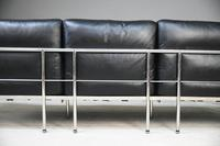 LC3 Style Black Leather & Chrome 3 Seater Sofa (20 of 22)