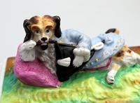 Unusual & Rare Paris Porcelain Novelty Humorous Dog Desk Weight 19th Century (2 of 5)