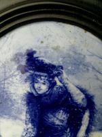 Rare Antique Royal Doulton Blue & White Mother & Girl Framed Oval Plaque C1910 (7 of 12)