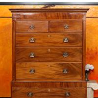 Chest on Chest of Drawers 19th Century Inlaid Mahogany (2 of 11)