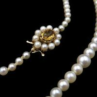 Vintage Pearl and Citrine 9ct Yellow Gold Beaded Pearl Strand Necklace (5 of 11)