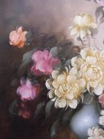 Large Oil on Canvas Bowl of Roses Signed (free Shipping to Mainland England (7 of 12)