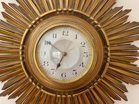 Stylish Art Deco Carved Giltwood Starburst Clock c.1930 (4 of 8)