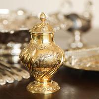 Antique Georgian Solid Silver Gilt Tea Caddy / Sugar Caster, Baronet Coat of Arms (heathcote) - Samuel Taylor 1753 (3 of 27)