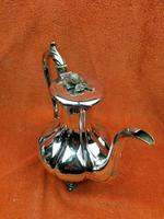 Antique Pumpkin Shaped Silver Plated Coffee Water Tea Pot c.1830 (2 of 13)
