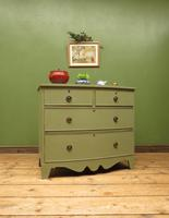 Antique Green Bow Fronted Chest of Drawers, Shabby Chic (16 of 18)