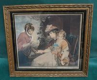 Antique Engraving in Colour - The Fortune Teller
