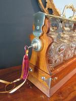 Late Victorian Polished Oak Three Bottle Tantalus (4 of 10)