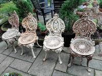 Set of Four Cast-iron Garden Chairs c.1900 (2 of 6)