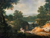 Exceptional Large 1700s Old Master Giltwood Landscape Oil on Canvas Painting (7 of 17)