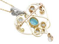 3.22ct Diamond & 2.10 ct Aquamarine, Pearl & 18ct Yellow Gold Pendant / Brooch - Antique Victorian (5 of 9)