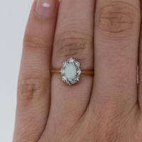 Antique Natural Opal & Diamond Oval Halo Cluster 18ct 18k Yellow Gold Ring (4 of 10)