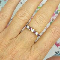 Vintage 18ct Ruby & Diamond seven stone ring ~ 40th wedding Anniversary (4 of 10)