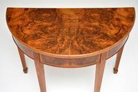 Antique Burr Walnut Demi Lune Console Table (2 of 8)