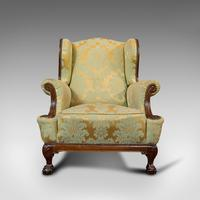 Antique Wing-Back Armchair, English, Lounge, Fireside, Seat, Edwardian c.1910 (10 of 12)