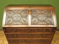 Antique Carved Oak Writing Bureau Desk with Fall Front, Handsome Gothic Piece (4 of 24)