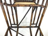 Late Victorian Antique Bamboo Hall Stand with Mirror (4 of 7)