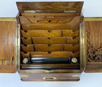 Victorian Burr Walnut Brass Bound Desktop Stationery Cabinet (5 of 15)