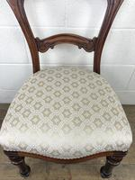 Single Victorian Mahogany Chair with Fabric Seat (6 of 10)