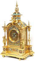 Incredible Antique French Champlevé Ormolu Bronze 8 Day Striking Mantel Clock c.1860 (2 of 13)