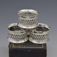Cased Set 4 Victorian Silver Napkin Rings Nautical / Fishing Theme (8 of 10)