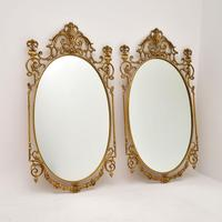 Pair of Antique French Style Brass Mirrors (2 of 12)