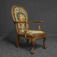 Victorian Carved Rosewood Armchair with Tapestry Upholstery (4 of 13)