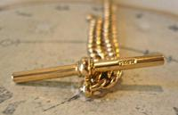 Victorian Pocket Watch Chain 1890s Antique Large 14ct Rose Gold Filled Albert With T Bar (7 of 11)