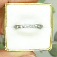 1920s Art Deco platinum diamond wedding band ~ full eternity ring 0.69ct ~ Size P 1/2 / 7.75 (9 of 9)