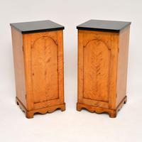 Pair of Antique Swedish Satin Birch Bedside Cabinets