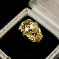 Antique Diamond Lions Head and Laurel Leaf 18ct 18K Yellow Gold Ring (8 of 9)