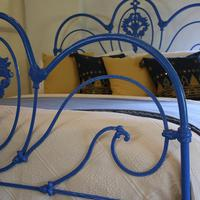 Blue Curly Iron Victorian Antique Bed (4 of 6)