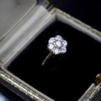 Vintage Old Cut Diamond Daisy Halo Cluster 18ct 18k Yellow Gold Ring 0.52ct Total (2 of 8)