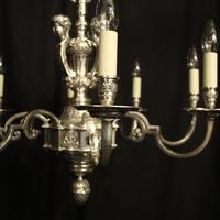 French Silver Gilded Cherub 8 Light Antique Chandelier (8 of 10)