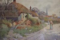 Good Late 19th Early 20th Century Watercolour Village Scene - S E Hall (4 of 7)