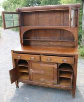 1920s Large Oak Carved Buffet with Display Cupboards (2 of 7)