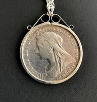 Victorian Silver Crown Pendant, Coin Necklace (8 of 11)