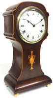 Impressive Solid Mahogany Tulip Cased Timepiece Clock with Satinwood Inlaid Decoration (9 of 10)