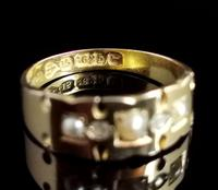 Victorian Rose Cut Diamond and Split Pearl Ring, 15ct Gold (10 of 12)