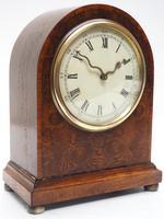 Fantastic Burr Walnut Mantle Clock Rare Snake Hands 8 Day Mantle Clock (8 of 11)