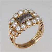 Georgian 15ct Gold Pearl Antique Memorial English Ring c.1800 (10 of 20)