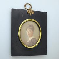 Attractive Portrait Miniature Painting in Ebonised Frame 19th Century