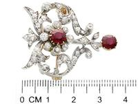 2.05ct Ruby & 1.70ct Diamond & 12ct Yellow Gold Brooch - Antique c.1910 (4 of 9)