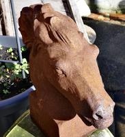 Pair of Large Outdoor Weathered Cast Iron Horse Heads (2 of 7)