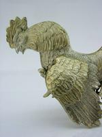 Rare Large Sterling Silver Cockerel Cock Fighting Bird Figure 1966 Antique 132g (2 of 9)