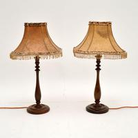 Pair of Antique Walnut Table Lamps with Parchment Shades (2 of 7)