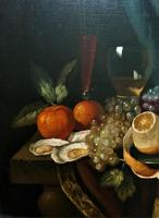 Fine Original 19thc Antique Spanish Fruit Wine & Oyster Still Life Oil Painting (7 of 13)