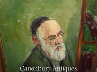 Oil Painting Jew and Rabbi Portrait Antique Yiddish Judaic Art 1930 (7 of 9)