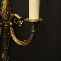 French Pair of Twin Arm Antique Wall Lights (6 of 10)